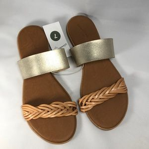 Gold and brown sandals
